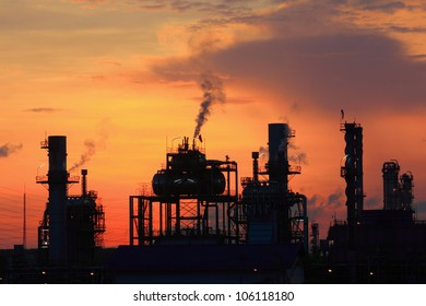 Oil refinery at twilight (Map Ta Phut Industrial Estate Rayong Thailand)
