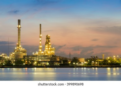 Oil refinery waterfront during sunrise