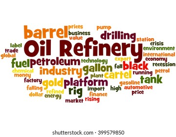 Oil Refinery, word cloud concept on white background.