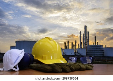 Oil refinery work Safety first  wearing a Safety helmet  and Personal protective equipment.