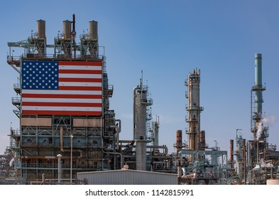 Oil Reinery Plant with large USA Flag on scaffolding