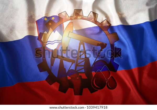 Oil rig against the background of the flag of Slovenia. Mixed environment. The concept of oil production, minerals, development of new deposits, well.