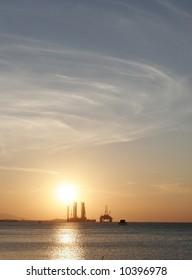 Oil rig in the Caspian Sea near Baku