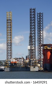 Oil rig construction at dock