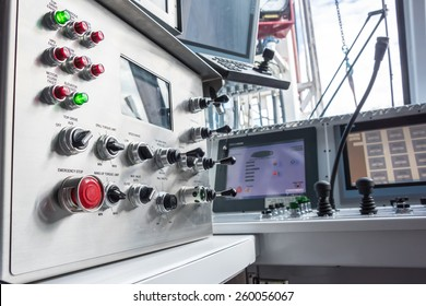 Oil rig controls & switches in operators room on rig floor.