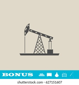 Oil Rig icon flat. Simple gray pictogram on light background. Illustration symbol and bonus icons real estate, ottoman, vase, tv, fishing rod