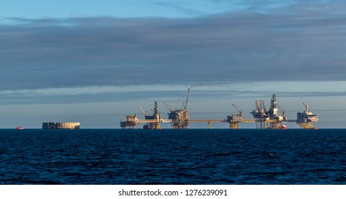 Oil rig platforms in the north sea.