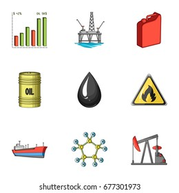 Oil rig, pump and other equipment for oil recovery, processing and storage.Oil set collection icons in cartoon style bitmap, raster symbol stock illustration web.