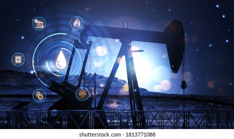Oil rig pump production crane machine site fossil fuel output crude oil futuristic modern industrial engineering construction resource for economy, midnight star desert tone graphical icon concept