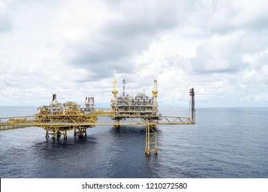 Oil rig in the sea with copy space