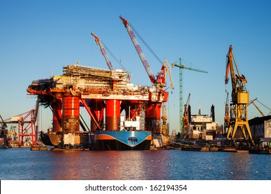 Oil Rig under construction in the shipyard of Gdansk, Poland.