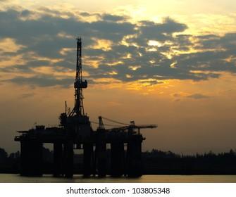 Oil Rigs in beautiful sunrise at Malaysia.