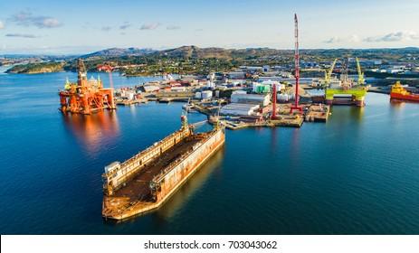 Oil rigs under maintenance near Bergen, Norway.