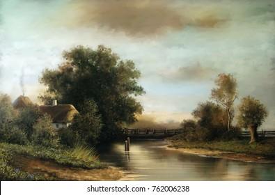 Oil rural landscape paintings, river, village, fine art, digital paint.