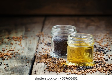 Oil from the seeds of the black mustard, selective focus