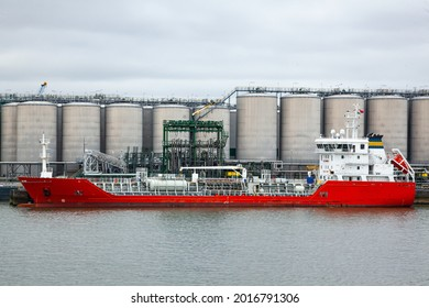 Oil ship docked at the oil berth.