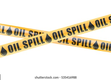 Oil Spill Caution Barrier Tapes, 3D rendering isolated on white background