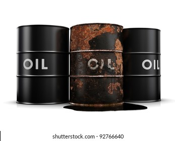 Oil spill due to a rusty, leaking oil drum.