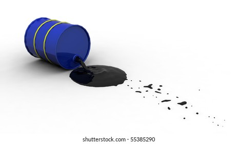 Oil spilling out of a blue drum after it's fallen over.