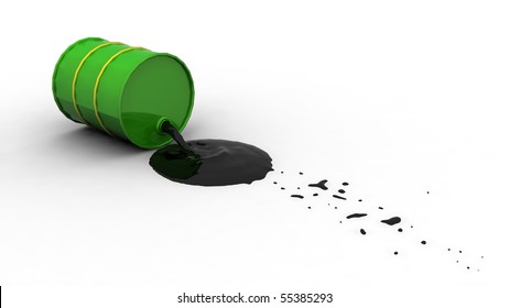 Oil spilling out of a green drum after it's fallen over.