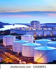 Oil storage tank at night