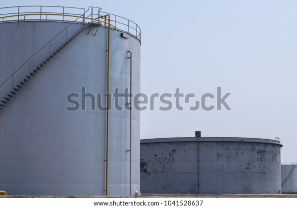 Oil Storage Tanks Tank Farm Iron Stock Photo (Edit Now