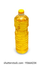 oil sunflower in a plastic bottle isolated on white background