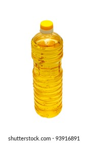 oil sunflower in a plastic bottle isolated on white