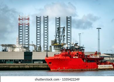 Oil supply ships in Esbjerg harbor in Denmark