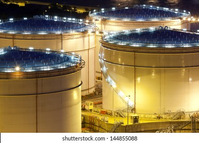Oil tank, close-up at night.
