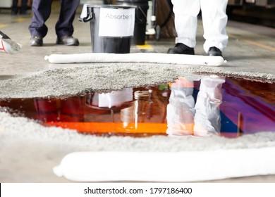 Oil of tank leak on the floor