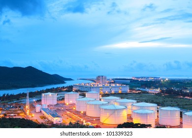 oil tank at night