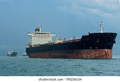 Oil tanker anchored off the Pacific coast of Panama. This 12 year old 184 meter vessel is at its mid-life point.