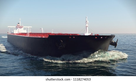 Oil tanker floating in the ocean 3d illustration