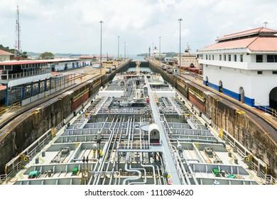 Oil tanker in Gatun lock., Panama Canal