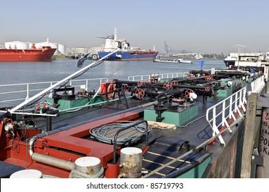 oil tanker in harbor of rotterdam netherlands
