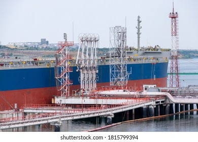Oil tanker near the loading station at the sea port