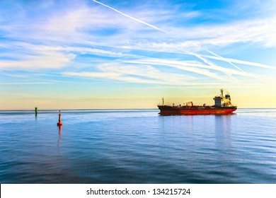 Oil Tanker Ship and buoy in the sea.