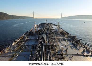Oil tanker Ship is proceeding through the Bosphorus strait.