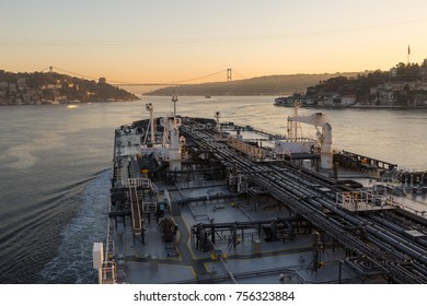 Oil tanker underway in through Bosphorus strait.