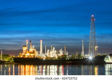 Oil tankers In front of a refinery