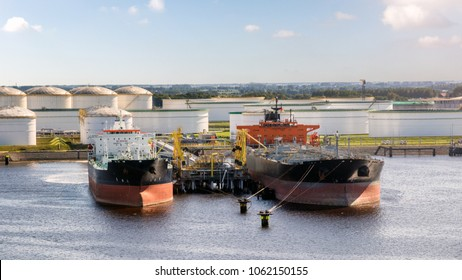 Oil tankers moored at an petrochemical oil shipping terminal in the Port of Rotterdam.