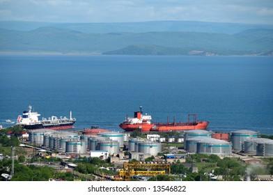 oil tankers at russian petroleum port Vladivostok