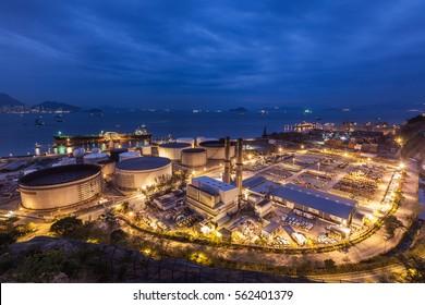 Oil tanks in Hong Kong at night