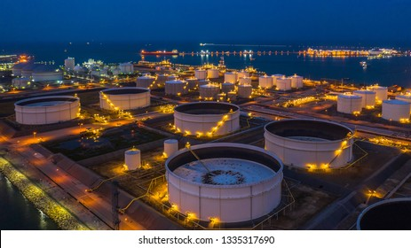Oil terminal is industrial facility for storage of oil and petrochemical products ready for transport to further storage facilities, Aerial view.