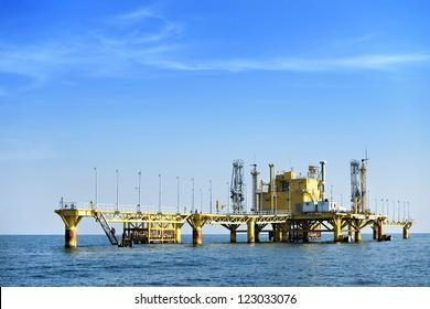 Oil transfer station on big sea