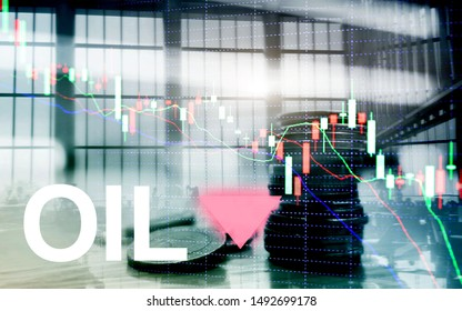 Oil trend down. Candle graph chart Oil barrels and a financial chart on abstract business background. Price oil down. Barrel arrow down