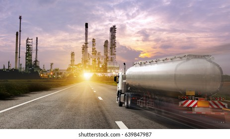 Oil truck transport container on the road to  oil and gas industry petrochemical plant