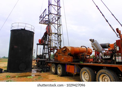 Oil well, crude oil tanker and construction, Fang, Chiang Mai, Thailand