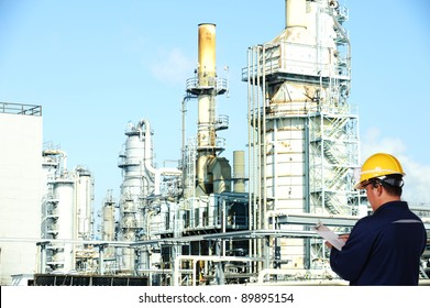 oil worker at oil refinery